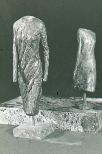 Maquettes for Draped Figure Walking and Draped Figure with Arm